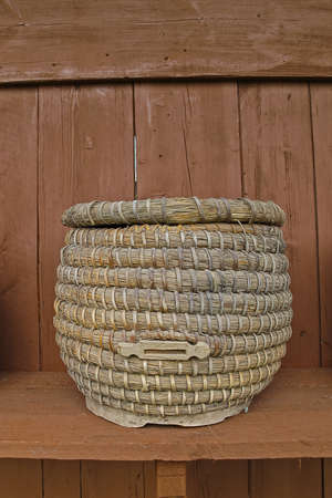 Beehive braided from straw