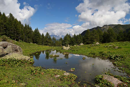 Small pond on a mountain in the bavarian alps