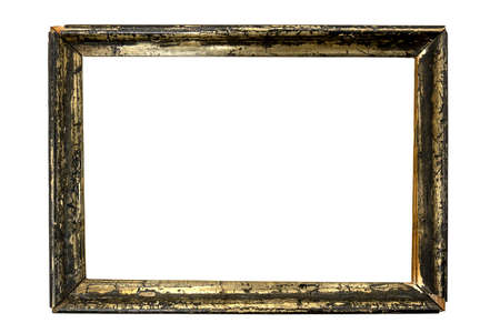 old wooden picture frame formerly gilded, but the gold has mostly faded, isolated on white background