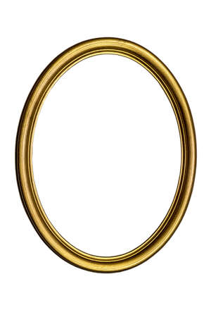 Antique gilded oval picture frame isolated on white