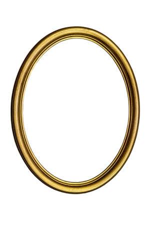Antyczna złocona owalna ramka na zdjęcia na białym tle