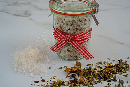 Salt bathroom salt and different soothing herbs