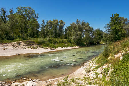 beautiful hiking trail along the Ammer in Bavaria, a piece of untouched nature Standard-Bild