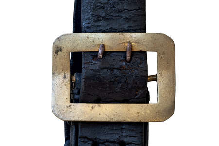 Antique, old, black belt, leather cracked and worn, brass buckle tarnished, scratched and stained