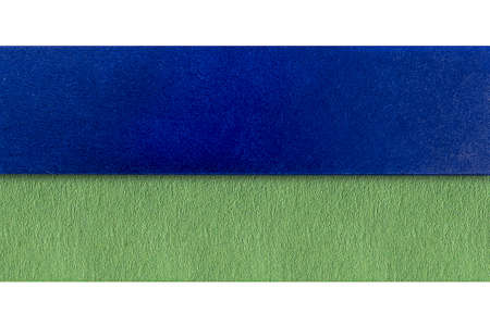 two strips of colored paper on white background
