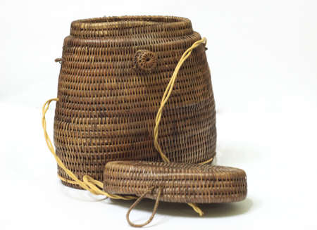 bag woven of matting, twigs, with a lid, isolated