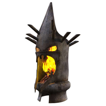 A street fireplace in the form of a demon head