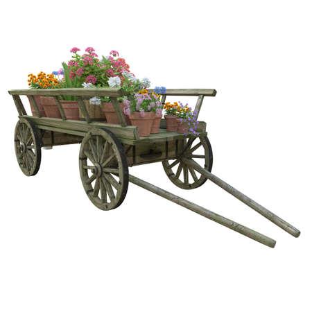 Cart with flowers. Effect Tilt Shift.
