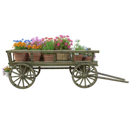 Cart with flowers. Effect Tilt Shift.