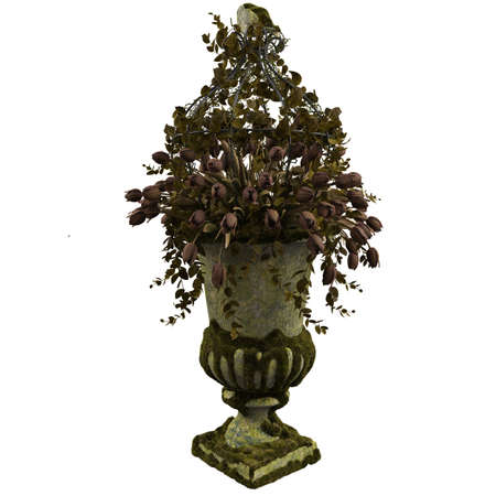 An old classic vase covered with mud and moss with withered tulips