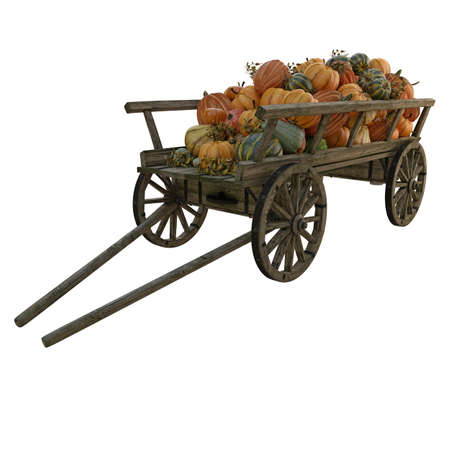 wooden cart with different pumpkins