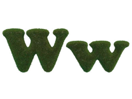 realistic grass letters on a white background that are well separated