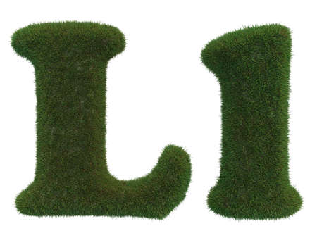 realistic grass L letters on a white background that are well separated