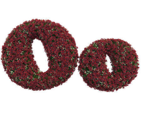 English O alphabet and letters of grass and flowers