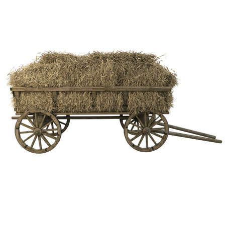 Wooden cart filled with hay and straw