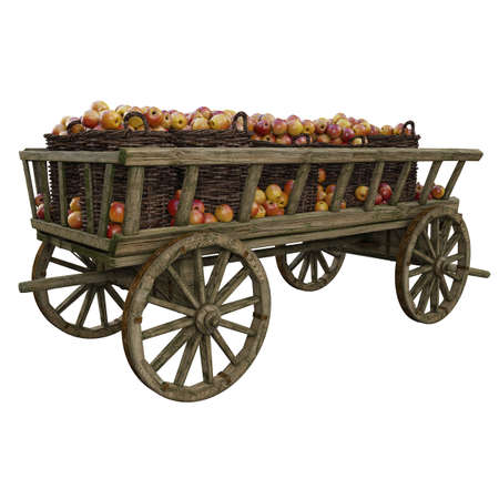 Wooden cart filled with buckets of ripe apples. The cart is filled with red apples. Harvesting ripe juicy apples.