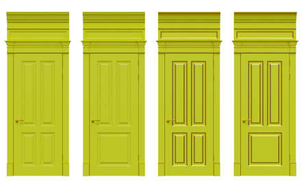 3d image classical wooden door with Oatun details, cornices and platbands for classic interiors of houses, public premises and apartments