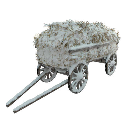 Wooden cart with hay covered with snow in the village