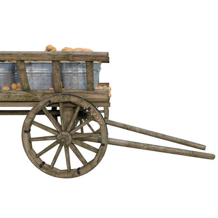 Harvest in the village outside the city of ripe fresh potatoes in iron buckets standing in a wooden cart