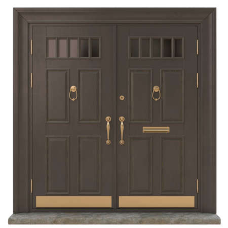 Classic entrance doors for houses and mansions as a decoration of the entrance group with brass and gold fittings