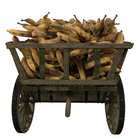 Ripe bananas collected in a wooden cart Stock fotó