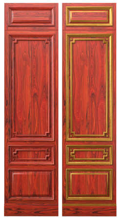 Classic wood panel made of wood with veneer and elements of gold and patina for classic interiors of billiard room cabinets