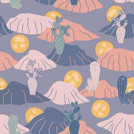 Blue desert sunset cactus seamless vector repeat pattern background. Surface pattern design Illustration