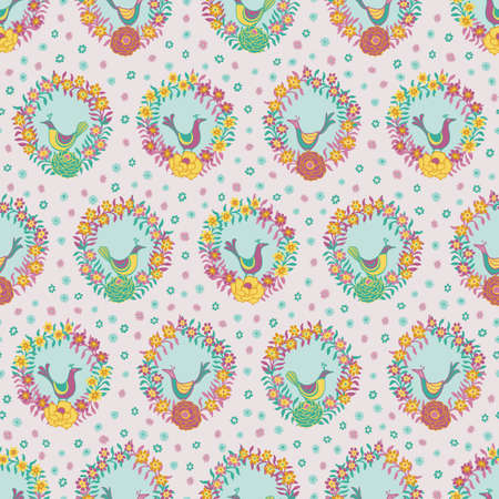 Colorful floral wreaths with birds folk seamless vector pattern background Stock Photo