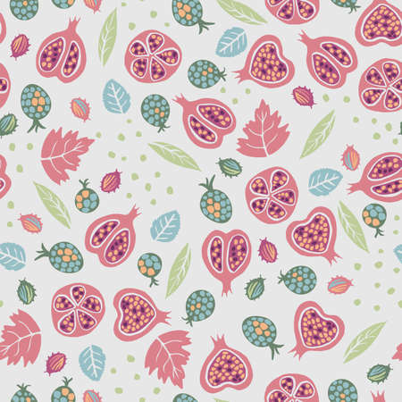 Vector autumn seamless pattern background with elements, leaves, pomegranate, berries Illustration