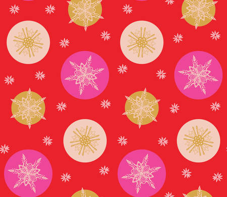 Bold pink and red modern minimal Christmas snowflakes vector seamless pattern background.