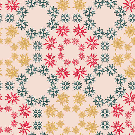 Green, red, yellow bohemian Christmas snowflakes vector seamless pattern background.