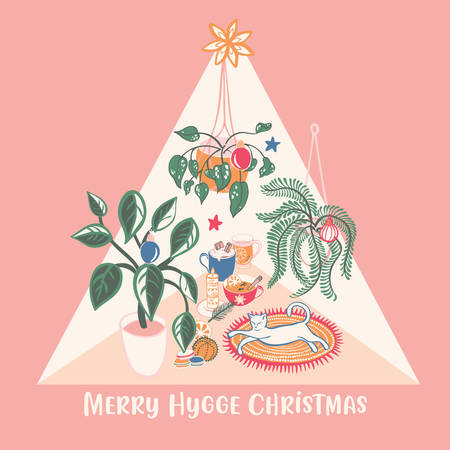 Super cute Hygge Christmas home chill out scene with hot drinks, home plants and a white cat vector illustration. Scandinavian style for fabric, placement print, grearting cards or backgrounds.