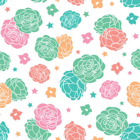 Colorful rose garden ditsy floral with stars seamless vector