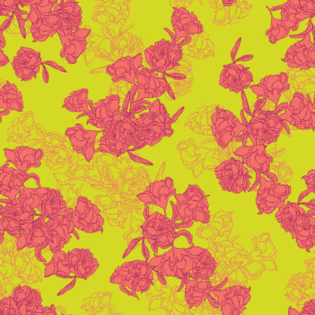 Seamless floral texture background with pomegranate flowers. Vector illustration imitates traditional Chinese painting. Surface pattern design for backgrounds, fabric, wallpaper, scrapbooking.