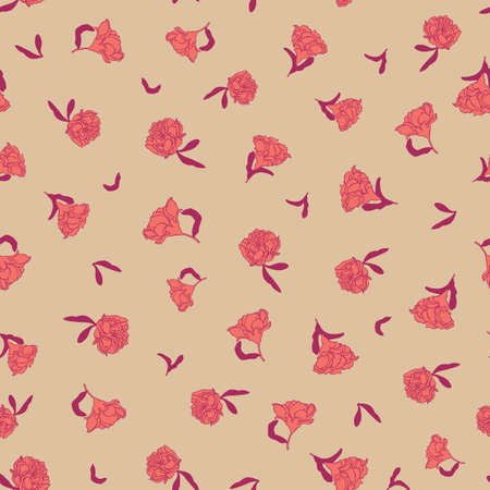 Seamless small scale ditsy vector floral texture chinoiserie pattern background with living coral pomegranate flowers on bright backgound. Vector illustration imitates traditional Chinese painting. Surface pattern design for backgrounds, fabric, wallpaper, scrapbooking. Illustration