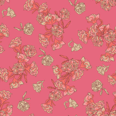 Seamless vector floral texture chinoiserie pattern background with living coral pomegranate flowers on bold pink backgound. Vector illustration imitates traditional Chinese painting. Surface pattern design for backgrounds, fabric, wallpaper, scrapbooking.