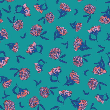 Seamless small scale ditsy vector floral texture chinoiserie pattern background with living coral pomegranate flowers on teal background. Vector illustration imitates traditional Chinese painting. Surface pattern design for backgrounds, fabric, wallpaper, scrapbooking.