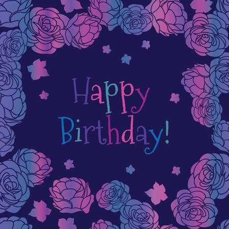 Purple pink rose garden ditsy floral Happy Birthday vector greeting card. Vector graphic design.