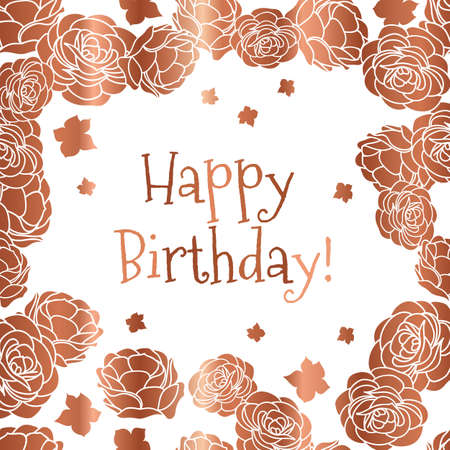 Rose garden ditsy floral Happy Birthday vector greeting card in copper and white colors. Vector graphic design.