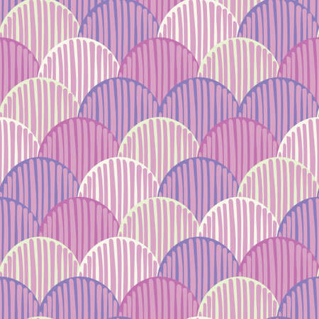 Abstract colorful doodle fishscale seamless vector pattern background for fabric, wallpaper, scrapbooking, cards. Vector Illustration