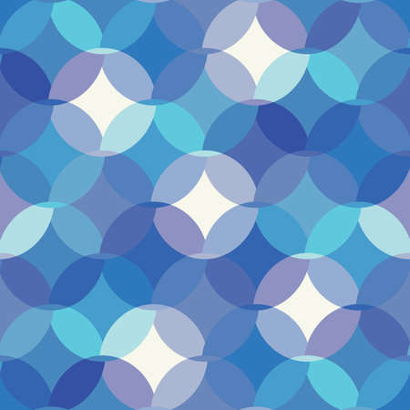 Mosaic of circles, semi cirlce elements. Geometric blue monochrome vector seamless pattern for fabric, wallpaper, scrapbooking or backgrounds.
