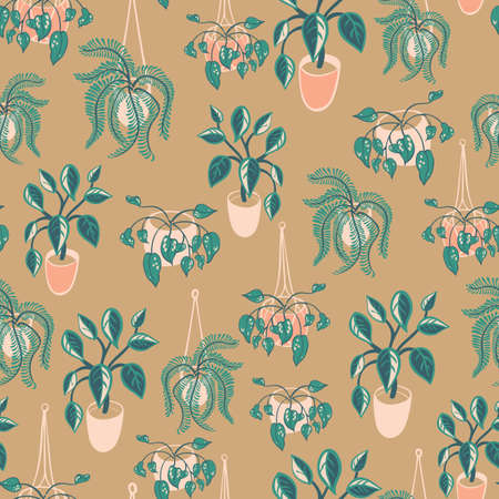 Bohemian hanging house plants in plant pots with green leaves background. Seamless vector pattern for fabric, wallpaper, scrapbooking. Vectores