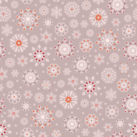 Bohemian Christmas lace snowflakes vector seamless pattern background for fabric, wallpaper, scrapooking projects for the winter Holidays.