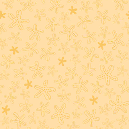 Seamless pattern with star fish. Beach vector background in sand yellow color for fabric, wallpaper, scrapbooking projects. Surface pattern design.
