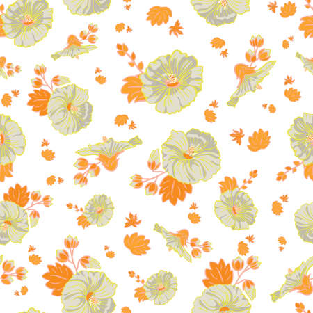 Blooming orange green mallow flower garden seamless repeat vector pattern background for fabric, scrapbooking, wallpaper and backgrounds. Illustration