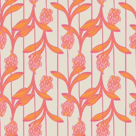 Pink orange african lilly flower with vertical stripes summer floral seamless vector pattern for fabric, wallpaper, scrapbooking, projects. Surface pattern design.