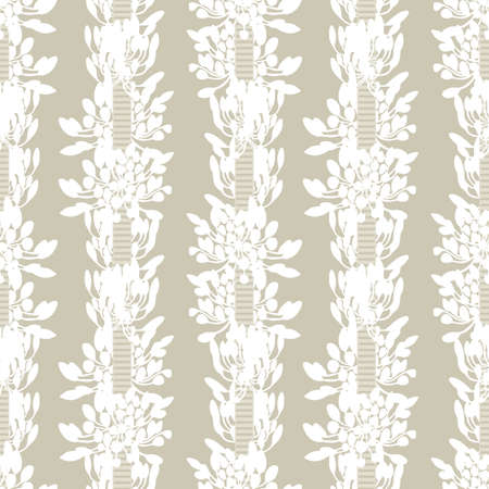 White african lily flower stripes with ribbon summer floral seamless vector pattern on beige background for fabric, wallpaper, scrapbooking, projects.
