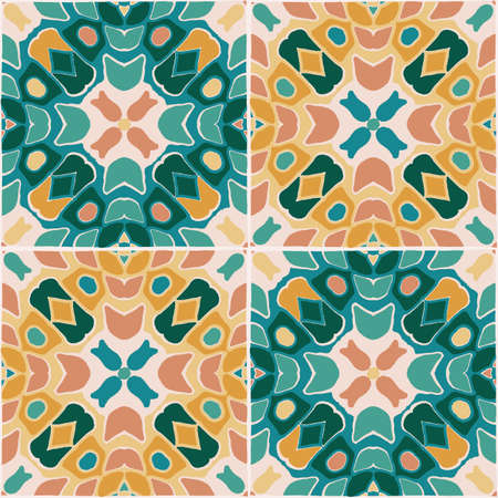 Oriental traditional floral tile ornament, Moroccan seamless pattern, vector illustration for fabric, paper, backgrounds, carpet, scrapbooking projects.