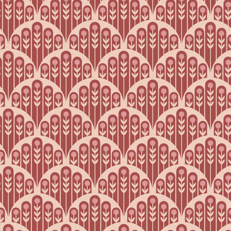 Abstract minimal floral fishscale seamless vector pattern background for fabric, wallpaper, scrapbooking, cards.