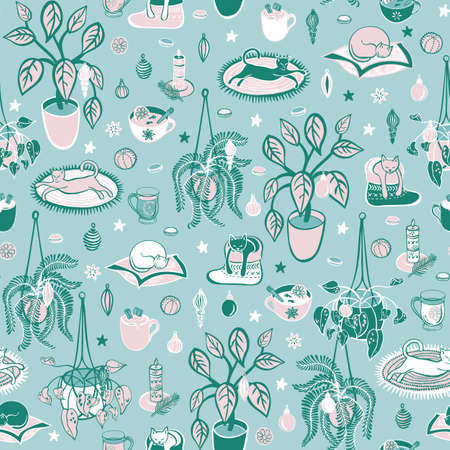 Super cute Hygge Christmas home chill out with hot drinks, home plants and cats on aqua background. Seamless vector repeat pattern background.